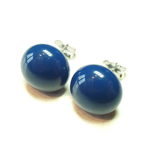 Navy Blue Fused Glass & Sterling Silver Stud Earrings