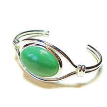 Load image into Gallery viewer, Green Aventurine Semi-Precious Gemstone Torque Cuff Bangle
