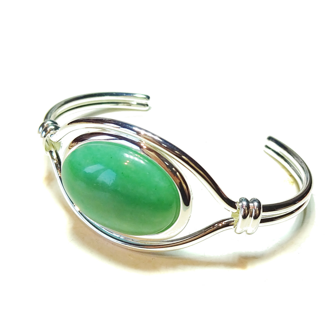 Green Aventurine Semi-Precious Gemstone Torque Cuff Bangle