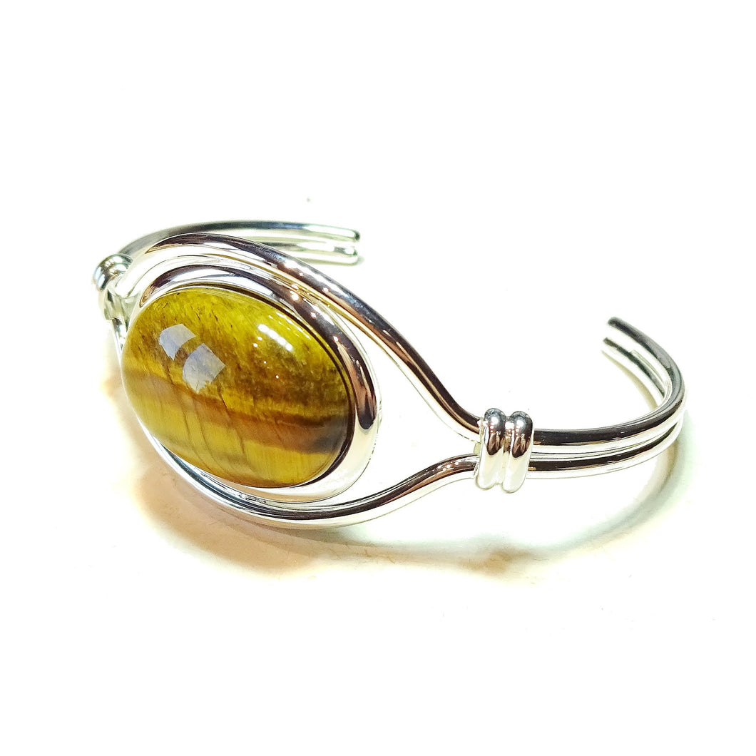 Brown Tiger's Eye Semi-Precious Gemstone Torque Cuff Bangle