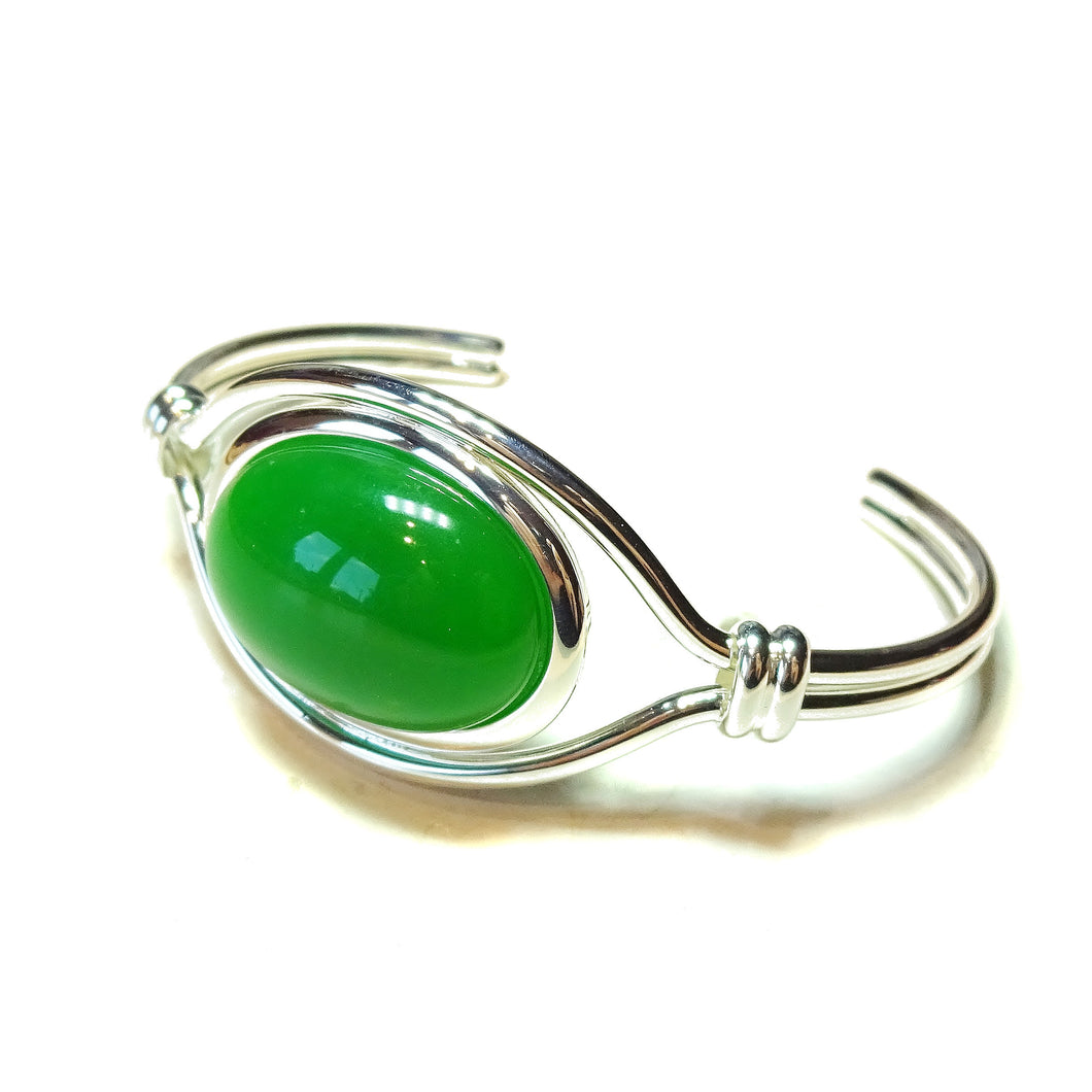 Green Quartz Semi-Precious Gemstone Torque Cuff Bangle