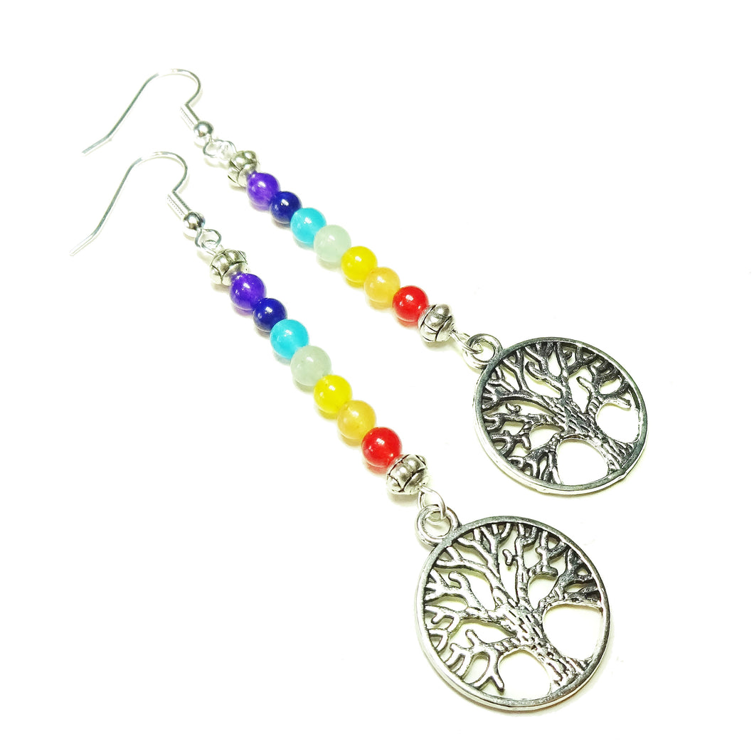 Tree of Life Gemstone Chakra Rainbow Earrings