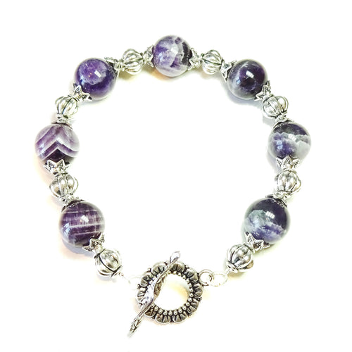 Natural Purple Amethyst Gemstone Bracelet 21.5cm
