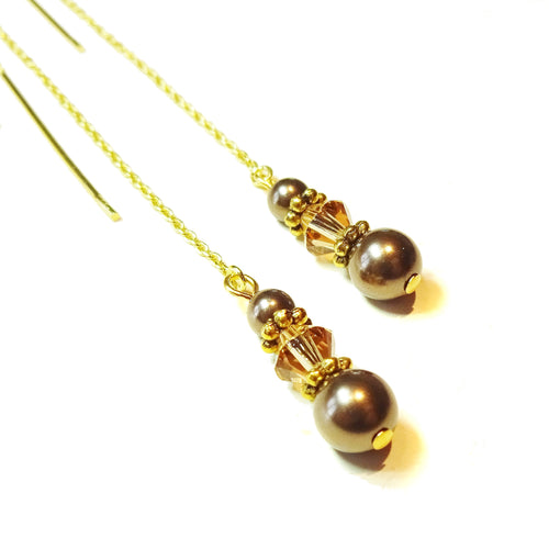 Coffee Brown Swarovski Pearl Gold Vermeil Long Drop Chain Ear Threads - 174mm