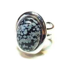 Load image into Gallery viewer, Grey Snowflake Obsidian Gemstone Adjustable Ring 23 x 17mm
