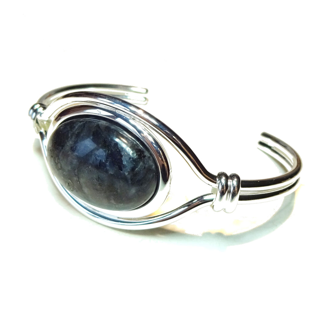 Grey Larvakite Semi-Precious Gemstone Torque Cuff Bangle
