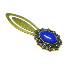 Load image into Gallery viewer, Blue Lapis Lazuli Semi-precious Gemstone Brass Clip Bookmark