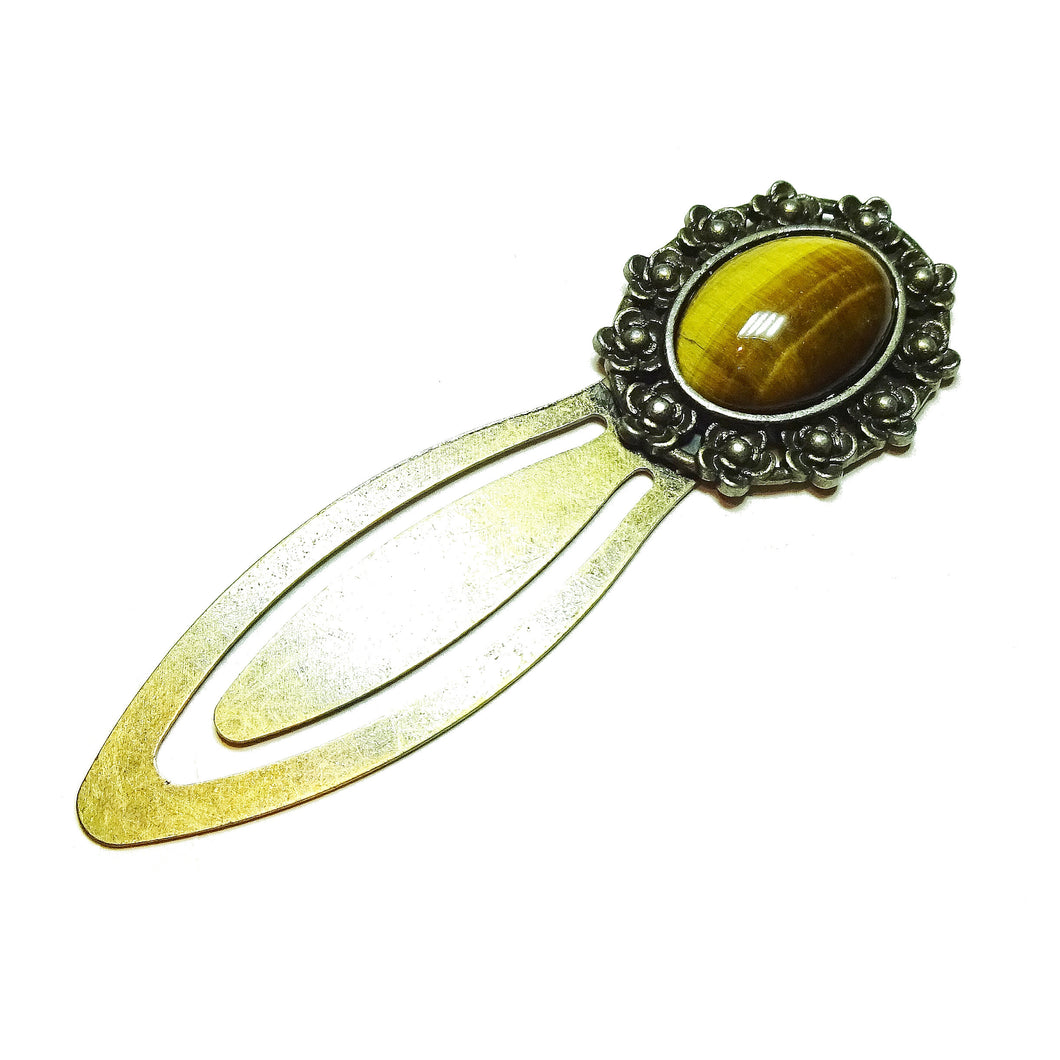 Brown Tiger's Eye Semi-precious Gemstone Brass Clip Bookmark