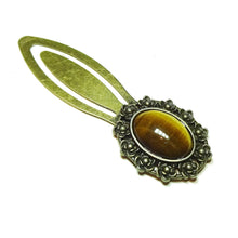 Load image into Gallery viewer, Brown Tiger's Eye Semi-precious Gemstone Brass Clip Bookmark