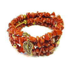 Load image into Gallery viewer, Red Jasper Gemstone & Gold-Tone Bead Memory Wire Wrap Cuff / Bangle