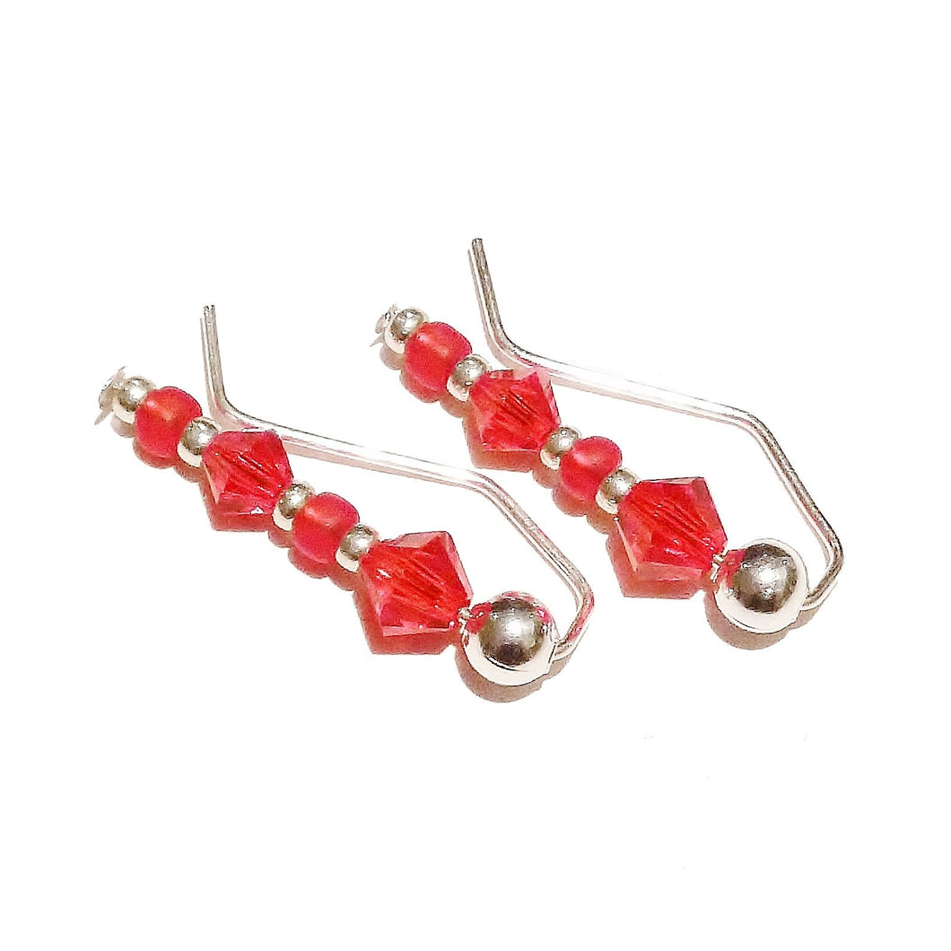 Red Beaded Earrings / Ear Pins / Ear Vines w/ Swarovski Crystals 7/8