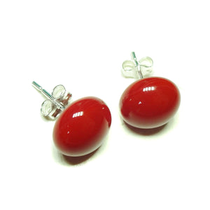 Red Fused Glass & Sterling Silver Stud Earrings