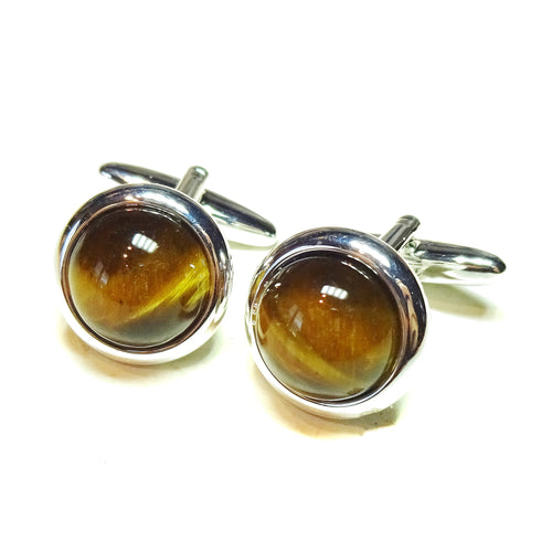 Brown Tiger's Eye Round Gemstone Cufflinks - Angled