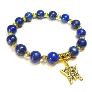 Blue Lapis Lazuli & Antique Gold-Tone Stretch Gemstone Bracelet Approx. 19.5cm