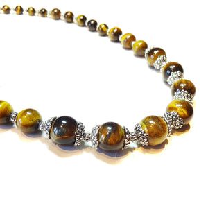 Brown Tiger's Eye Semi-precious Gemstone Graduated Necklace 22""