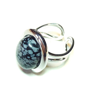 Grey Snowflake Obsidian Gemstone Adjustable Ring 23 x 17mm