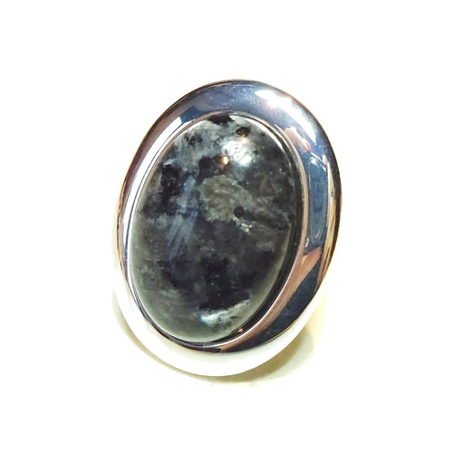 Large Grey Larvakite Gemstone Statement Ring - Adjustable 33 x 25mm