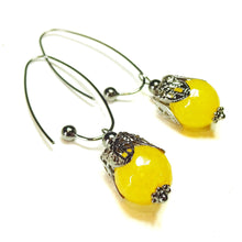 Load image into Gallery viewer, Yellow Jade Gemstone Gunmetal Black Filigree Drop Earrings