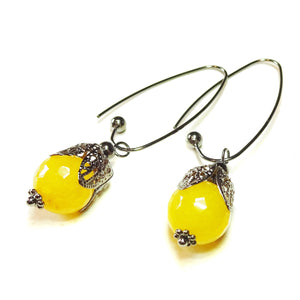 Yellow Jade Gemstone Gunmetal Black Filigree Drop Earrings