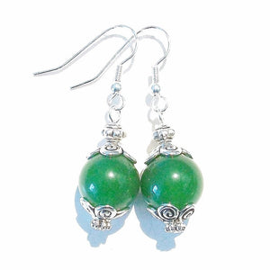 Green Taiwan Jade Gemstone Drop Earrings