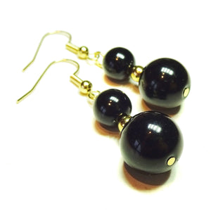 Black Onyx Semi-precious Gemstone Gold Plated Drop Earrings