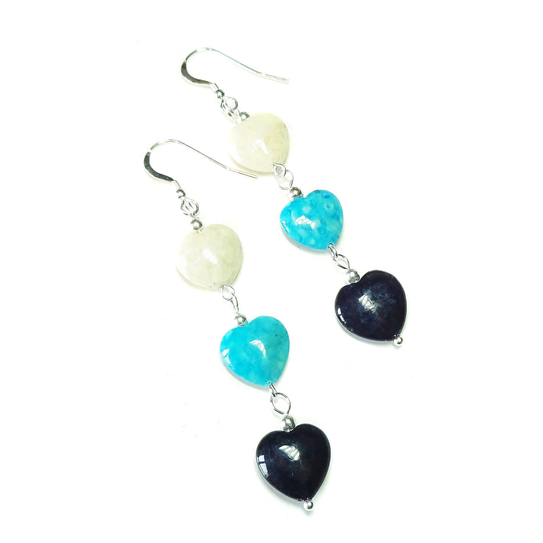 Black, Blue & Cream Turquoise Heart Gemstone Semi-precious Sterling Silver Drop Earrings
