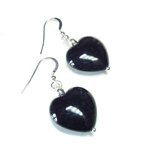 Black Turquoise Heart & Sterling Silver Gemstone Drop Earrings