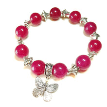 Load image into Gallery viewer, Bright Pink Jade Gemstone Stretch Bracelet - Approx. 20.5cm