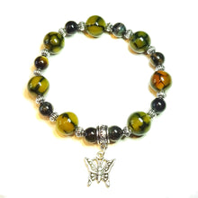Load image into Gallery viewer, Yellow Dragon Vein Agate, Black Tiger's Eye Gemstone Stretch Bracelet 20.5cm
