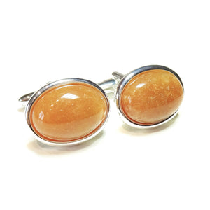 Orange Aventurine Semi-precious Gemstone Cufflinks - Angled