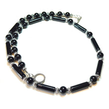Load image into Gallery viewer, Black Onyx Semi-Precious Gemstone Necklace - 22 inches