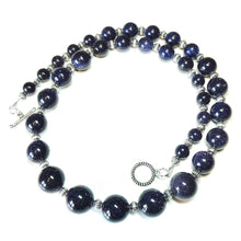 Load image into Gallery viewer, Dark Blue Sparkly Goldstone Graduated Necklace - 21.5 inches