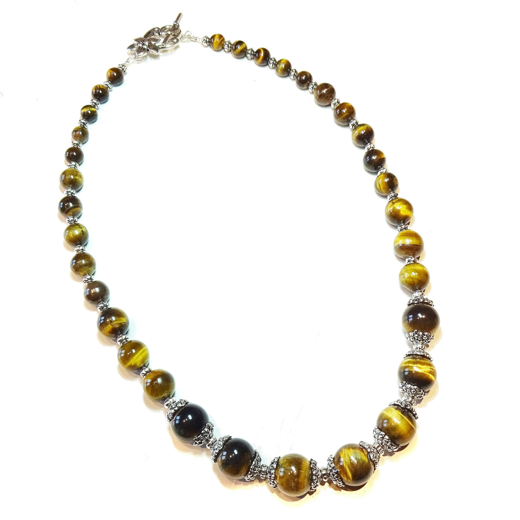 Brown Tiger's Eye Semi-precious Gemstone Graduated Necklace 22