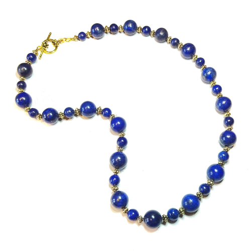 Dark Blue Lapis Lazuli Gemstone & Antique Gold-Tone Necklace Approx. 21