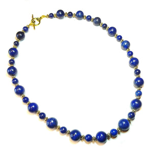 Dark Blue Lapis Lazuli Gemstone & Antique Gold-Tone Necklace Approx. 21""