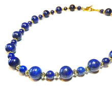Load image into Gallery viewer, Dark Blue Lapis Lazuli Gemstone & Antique Gold-Tone Necklace Approx. 21""