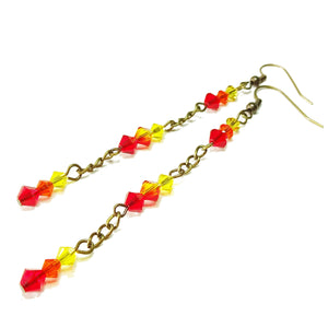 Red, Orange & Yellow Swarovski Crystal Long Drop Antique Brass Earrings
