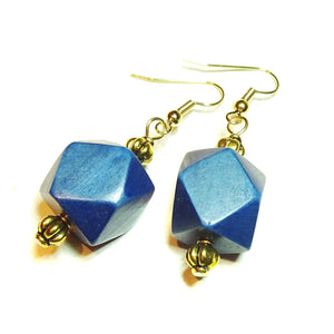 Navy Blue Geometric Handcrafted Wood & Gold Earrings
