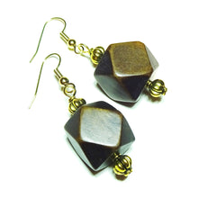 Load image into Gallery viewer, Dark Brown Geometric Handcrafted Wood & Gold Earrings