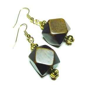 Dark Brown Geometric Handcrafted Wood & Gold Earrings