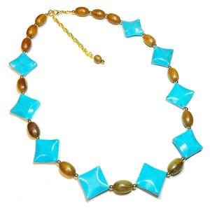Blue Turquoise Gemstone, Wood & Gold Plated Necklace - 22.5-24.5 inches