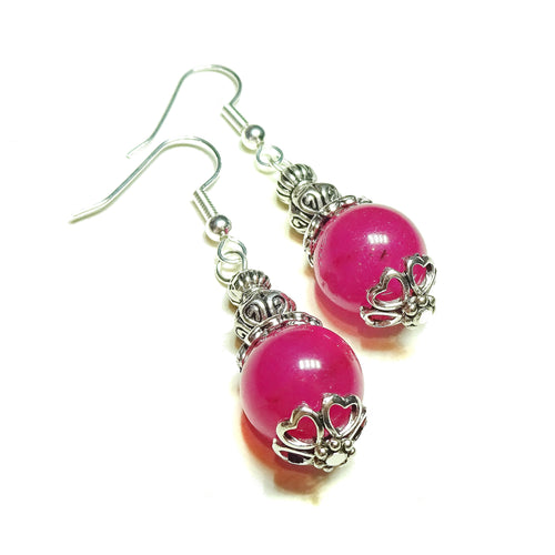 Pink Jade Semi-precious Gemstone Drop Earrings