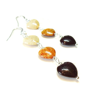 Dark Red, Brown, Cream Turquoise Heart Gemstone & Sterling Silver Drop Earrings