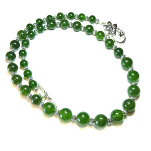 Green Taiwan Jade Semi-Precious Gemstone Graduated Necklace - 21.5 inches