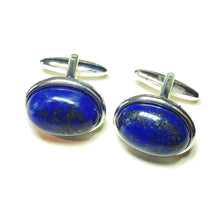 Load image into Gallery viewer, Blue Lapis Lazuli Semi-precious Gemstone Cabochon Cufflinks