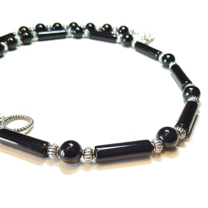 Black Onyx Semi-Precious Gemstone Necklace - 22 inches