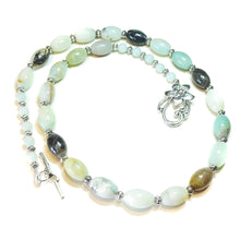 Load image into Gallery viewer, Natural Blue Amazonite Semi-Precious Gemstone Necklace - 23 inches