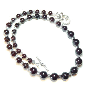 Dark Red Garnet Semi-Precious Gemstone Graduated Necklace - 22 inches