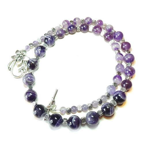 Natural Amethyst Semi-Precious Gemstone Necklace - 23.5 inches