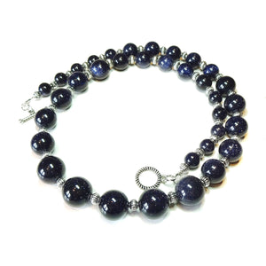 Dark Blue Sparkly Goldstone Graduated Necklace - 21.5 inches